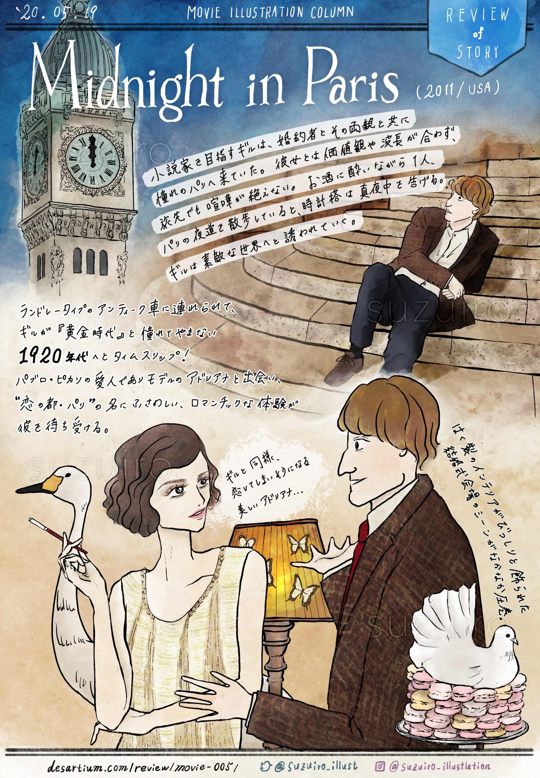 『ミッドナイト・イン・パリ』 ~ 色とりどりの顔を持つパリへ誘なわれる夜 ~